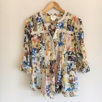 Anthropologie Maeve Abella Floral Print Pintuck Popover Blouse Womens Size 6
