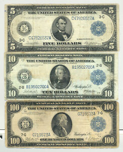 $5, $10 and $100 Series 1914 blue seal/serial numbers Federal Reserve Notes
