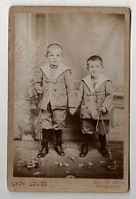 PHOTO - CABINET Deux enfants Jumeaux Cravache Louis LOURS à Puiseaux Vers 1900