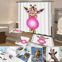 Giraffe Serie Druckschrift Wasserfest Badezimmer Duschvorhang Wc Abdeckung Matte