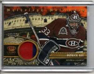 2013-14 PATRICK ROY PANINI CROWN ROYALE MYTHOLOGY MATERIALS PATCH RELIC #d 15/25