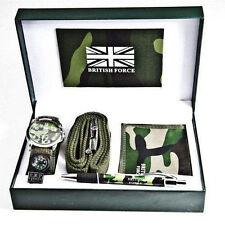 Reloj de Pulsera para Hombre Ejército Británico Fuerza Cartera Cinturón de pluma Brújula Conjunto de Regalo en Caja Caso