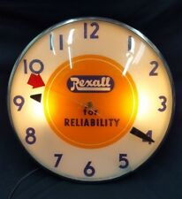 Vintage Telechron Rexall For Reliability Round Electric Wall Clock