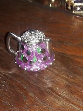 Purple Teapot Stal Hand Painted Enamel With Crystals