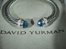 AUTHENTIC DAVID YURMAN SILVER 7MM CABLE CLASSIC BLUE TOPAZ DIAMOND BRACELET