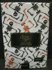 HALLOWEEN TABLECLOTH SKELETONS Orange Black OBLONG 60 x 84 CUTE Outdoor/ In