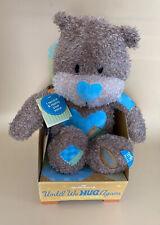 🔥Hallmark Until We Hug Again Voice Recorder Bear Brown Blue Hearts Plush Toy