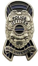Thin Blue Line Ribbon Police Shield Badge Blue Lives Matter Pin