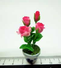 1:12 Scale Pink Roses In A Pot Doll house Miniatures Flowers ,Garden