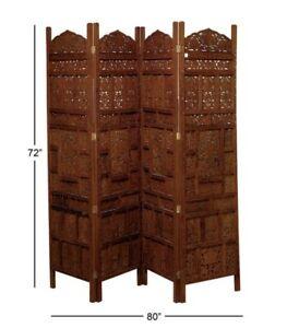 Traditional Moorish Design Four-Panel Wooden Screen Divider