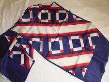 ancien foulard vintage décor géométrique bleu blanc rouge 114x38 cm