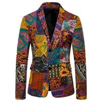 Mens Casual Vintage Ethnic Printed Dress Floral Suit Slim Fit Blazer Jacket NEW
