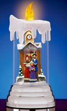 """LED Flameless Candle globe Caroling Winter Scene 8"""" Lights Up Christmas Holiday"""