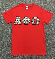 d216e535f6 NEW ALPHA PHI OMEGA Custom-Made Red Kermit Print Twill Letter T-Shirt Size