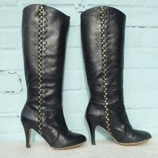 FRENCH CONNECTION Leather Boots Size Uk 5 Eur 38 Womens Pull on FCUK Black Boots