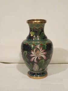 Vintage Cloisonné Small Bud Vase Cobalt Blue Beautiful