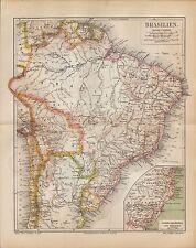 Landkarte map 1886: BRASILIEN, BOLIVIEN, PARAGUAY, URUGUAY, SURINAM