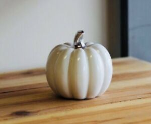 Ceramic White Pumpkin with Silver Stem Autumn Halloween Decoration new!