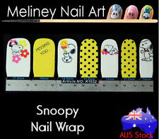 Snoopy Nail Art Wraps Full Cover Stickers Animal Dog yellow