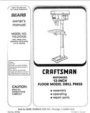 Craftsman 113.213130 Drill Press Owners Instruction Manual