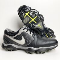 Nike Lunarlon Flywire Mens Size 9 Golf Shoes Black Leather w/ Spikes 552073-001