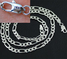 Wholesale 5PCS 4MM 925 sterling silver Plated Chain Fashion Men Figaro Necklace
