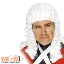Deluxe Judge Barrister Wig Fancy Dress Uniform Costume Adult Mens White Wig New