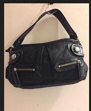 "Black DKNY Canvas/Leather Trim Hand Bag -13x7"""