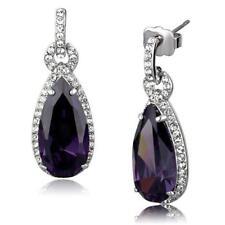 3756 PURPLE AMETHYST DANGLE DROP PEAR CUT  EARRINGS SIMULATED DIAMONDS CLASSY