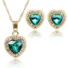 Heart Shaped Pendant Necklace Earring Sets Rhinestone Jewelry Set Gift Chain