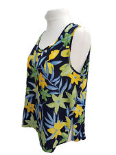 Plus Size silky Summer Dark Navy Floral Top Ladies New Curves Sizes 18/20- 34/36