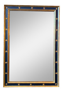 Imposing Large Parcel Gilt Blue Painted Italian Mirror With Star Molding