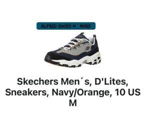 Skechers Men´s, D'Lites, Sneakers, Navy/Orange- Size 10 US M