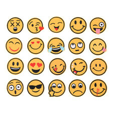 20 X Emoji Emotion Embroidery Iron On Applique Patch Sticker Sewing Craft Repair