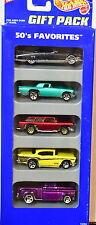 HOT WHEELS 1995 5 CAR GIFT PACK 50'S FAVORITES FLASHSIDER CHEVY CADILLAC