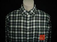 NWT Croft & Barrow Black Gray Plaid Long Sleeve Flannel Shirt Mens S