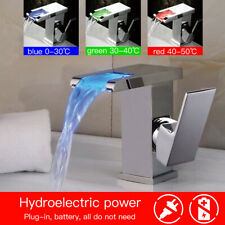 LED RGB Color Changing Bathroom Basin Waterfall Faucet Mixer Tap Chrome Brass UK