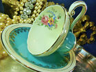 AYNSLEY TEA CUP AND SAUCER CORSET SHAPE SKY BLUE FLORAL GOLD TRIM c1920+