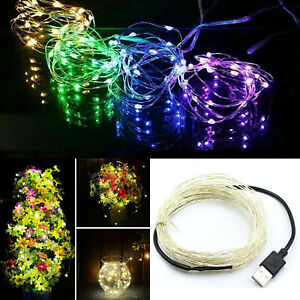 5M 10M USB LED Copper Wire String Fairy Light Strip Waterproof For Xmas Party SS