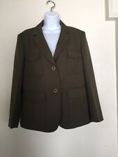 Theory Woman's Green Patch Pocket Jacket  Size 12