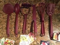 SET OF 6 - Geor Nylon Ladle spatula masher spoon cooking kitchen utensils RED