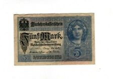 Genuine 5 Mark German empire banknote 1917 world war I fine cond !!!!!