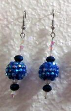 "Deep Blue Disco Ball Crystaled 1.50"" Drop / Dangle Hook Earrings"