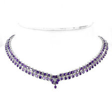 Silver 925 Genuine Natural Purple Amethyst Two Row Design Necklace 19 Inch
