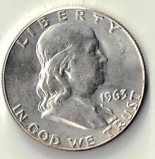 1963  FRANKLIN HALF DOLLAR 50 CENTS USA SILVER COIN UNC DBW