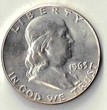 1963  FRANKLIN HALF DOLLAR 50 CENTS USA SILVER COIN UNC DBW