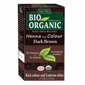 Indus Valley 100 Percent Organic Hair Color, Dark Brown, 100g