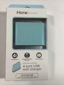 iHome AC Pro 4.4 Amp 4-Port USB Wall Charger, Flat Foldable Plug- Mint Green