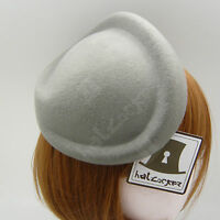 CLASSIC Wool Felt Women Fascinator Ladies Pillbox Hat Plain Base | Grey | Twist