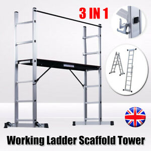 3in1 Working Scaffold Scaffolding Tower Aluminium Ladder Platform Indoor Outdoor